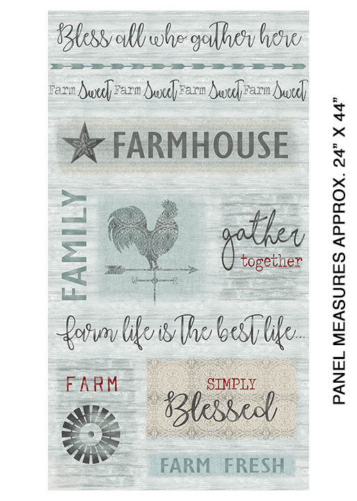 Farm Sweet Farm - Farm Panel<br>6839-52 - Aqua/Multi