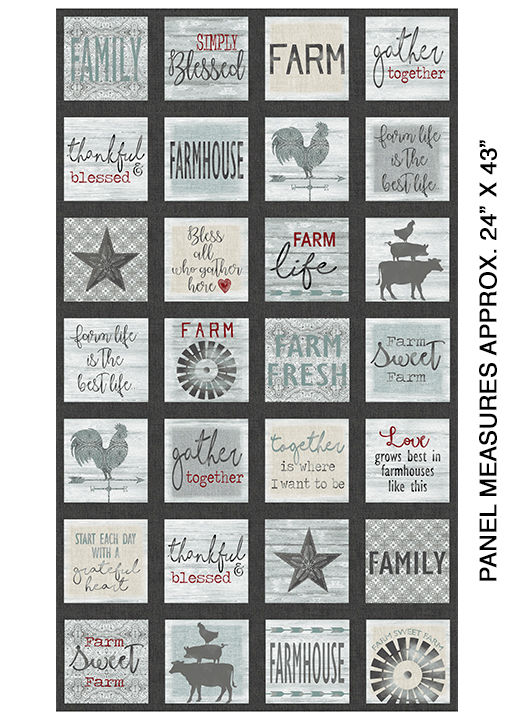 Farm Sweet Farm Square Charcoal Multi