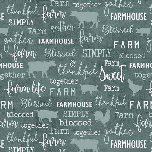 Benartex Contemp Farm Sweet Farm 6843-84 Chalkboard Teal