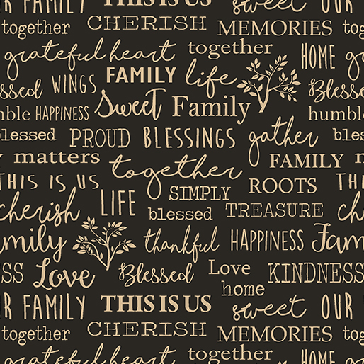 Quilt Barn Family Words Black