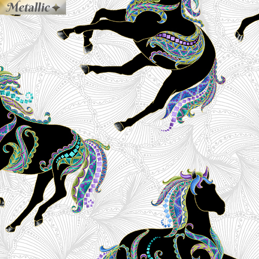 Silhouettes Horses Gray/Multi