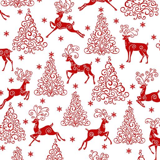 Deer Festival - Deer Trees and Stars White/Red