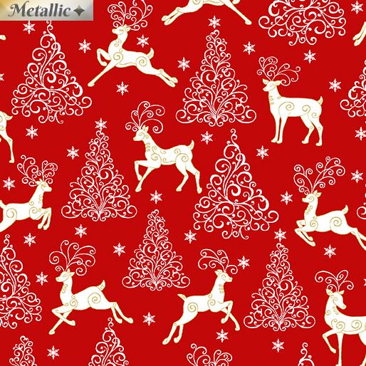 Deer, Trees & Stars Red<br/>Benartex 6876M-20
