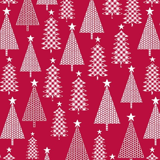 6905-10 Jolly Trees Red