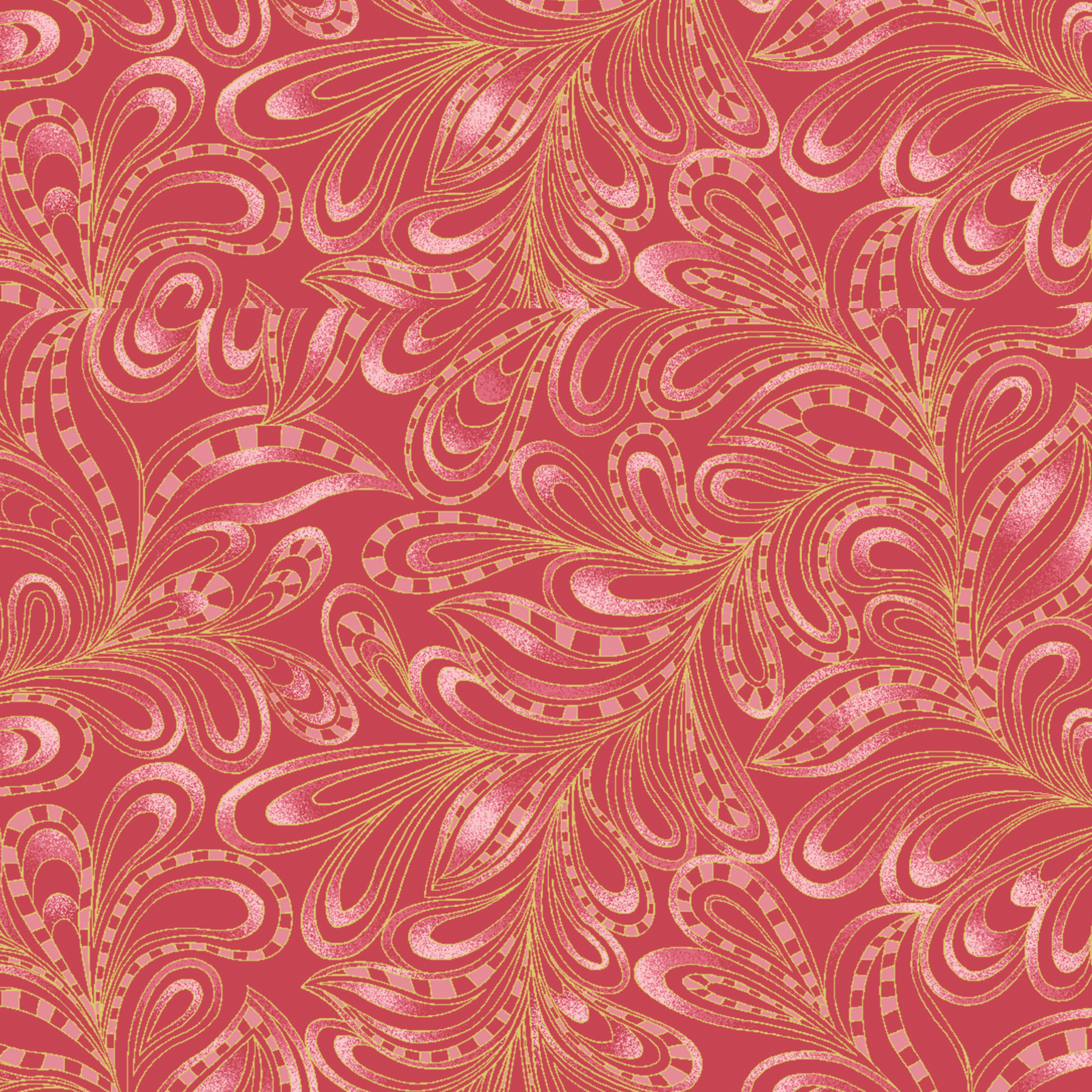 Featherly Paisley Red