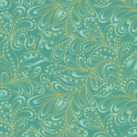 Cat I Tude - Featherly Paisley - Green - 7555M-44
