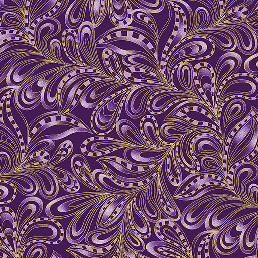 7555M-67 Plum Featherly Paisley Catitude Christmas