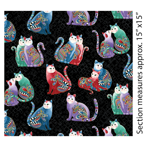 Playful Cats Black/Multi -Cat-i-tude 2 Purrfect Together