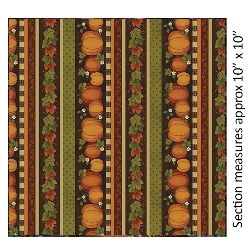 Benartex - Harvest Pumpkin Stripe Blk Multi 7561-12