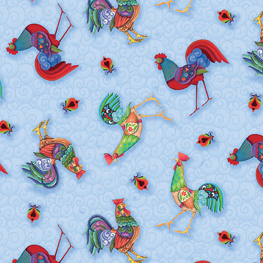 Awaken the Day Tossed Roosters Light Blue