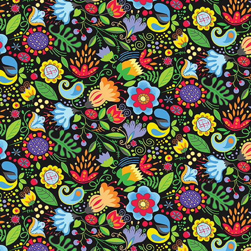 Awaken the Day Folky Floral Black/Multi
