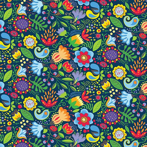 Folky Floral Blue/Multi