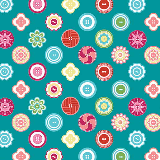 My Happy Place - Squared Buttons Teal