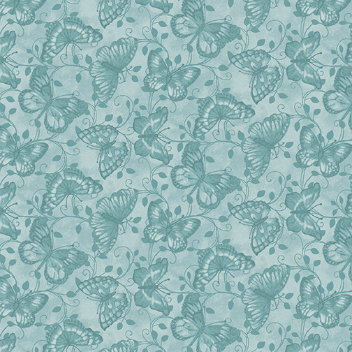 My Secret Garden Butterfly Tonal Blue by Cheryl Haynes for Benartex