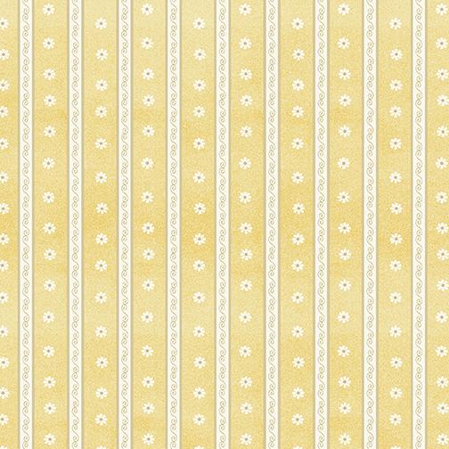 Daisy Scroll Stripe Yellow