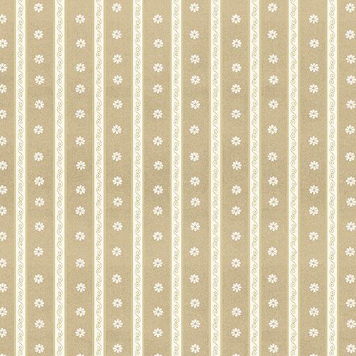 Daisy Scroll Stripe Mocha