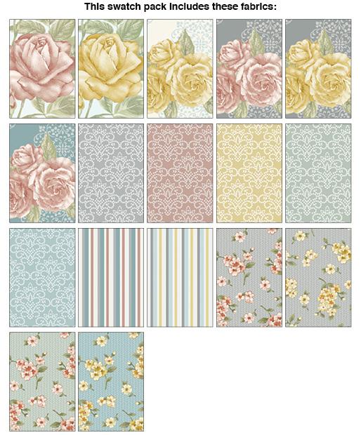 Grandeur Rose:  10 x 10 Squares - 42 piece Fabric Square Pack from Benartex