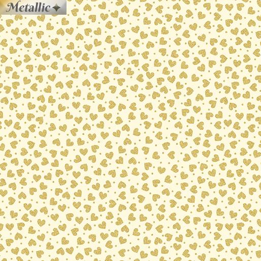 Metallic Hearts Cream/Gold