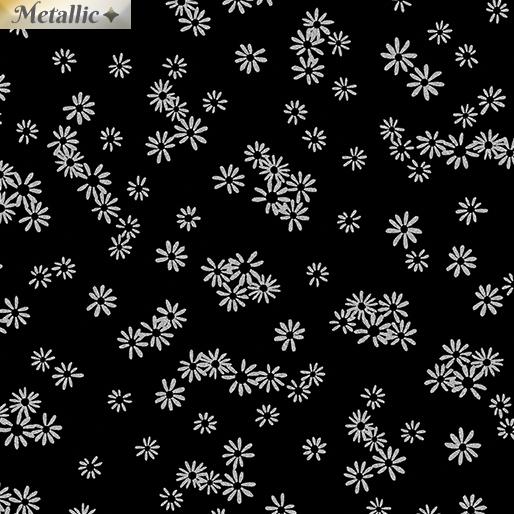 Metallic Silver Flowers on Black: Metallic Mixers by Greta Lynn for Kanvas Studio in association with Benartex