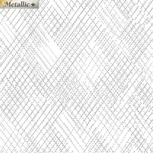 Metallic Cross Hatch - White/silver
