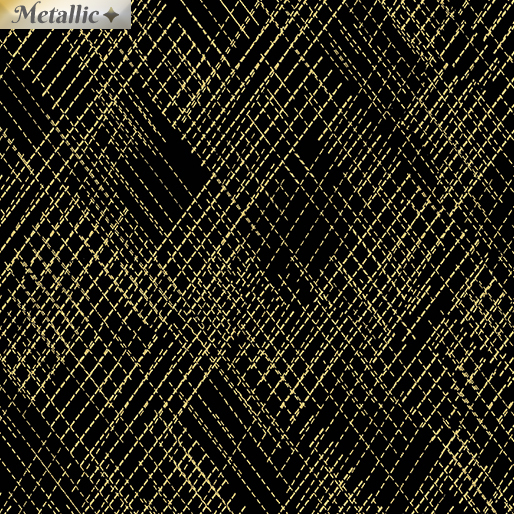 Metallic CrossHatch Blk/Gold