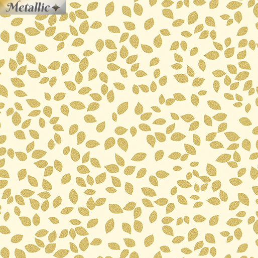 Metallic Tossed Leaves Cream