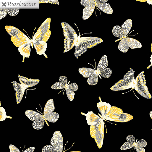 :Limoncello Butterflies Black 7737P