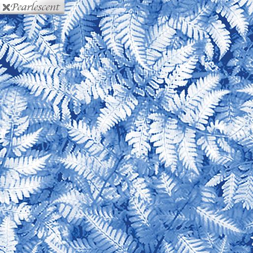 Pearlized Ferns on Blue:  Winter's Pearl - Pearl Ferns by Greta Lynn for Kanvas Studio in association with Benartex