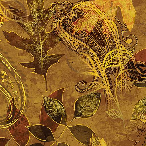 Benartex/Kanvas Harvest Gold Paisley Leaf GoldBrown