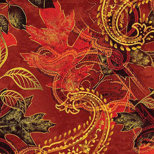 Benartex/Kanvas Harvest Gold  Paisley Leaf Russet