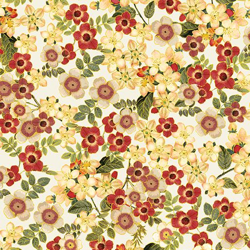 Benartex/KanvasHarvest Gold  Blossoms Cream