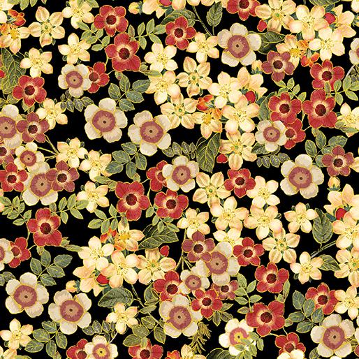 Benartex Kanvas Harvest Gold 7776M-12 Harvest Blossoms Black