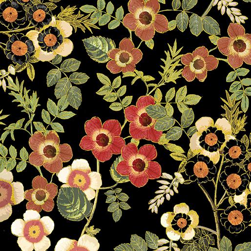 Benartex/Kanvas Harvest Gold Floral Black