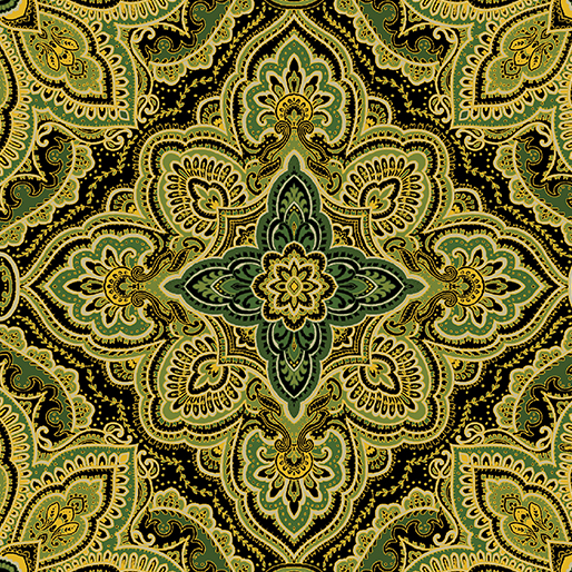 Benartex/Kanvas Harvest Gold Medallion Green