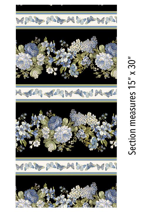 Benartex Kanvas Blue Symphony 7791M-12 Stripe Cream/Blk