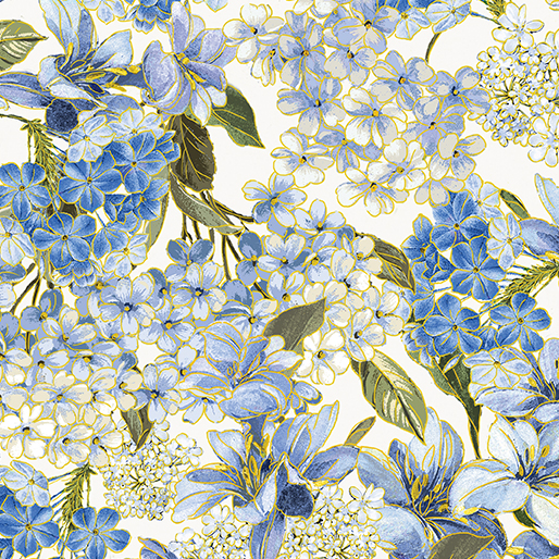 Blue Symphony Floral Cream