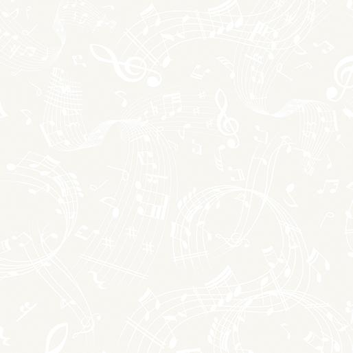 Benartex Better Basics 7804-09 Swirling Music White//White