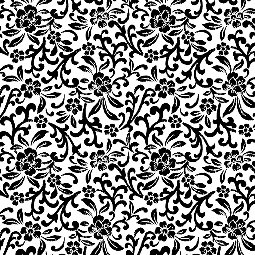 Scroll Floral White/Black