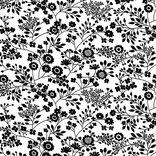Floral Garden White/Black