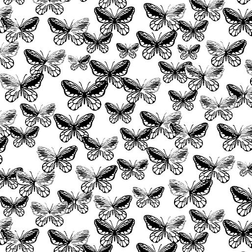 Tonal Butterflies White/Black