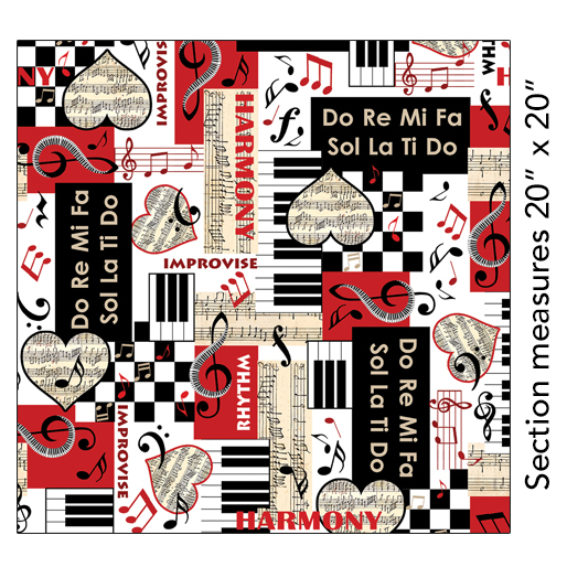 Perfect Harmony Fat Quarter - Black/White Musical Moments Collection by Kanvas Studio