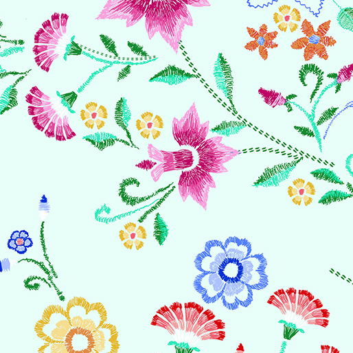 Embroidered Bouquet Mint - embroidered fabric