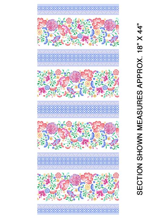 Embroidered Elegance -  Stripe - White - 7912-09