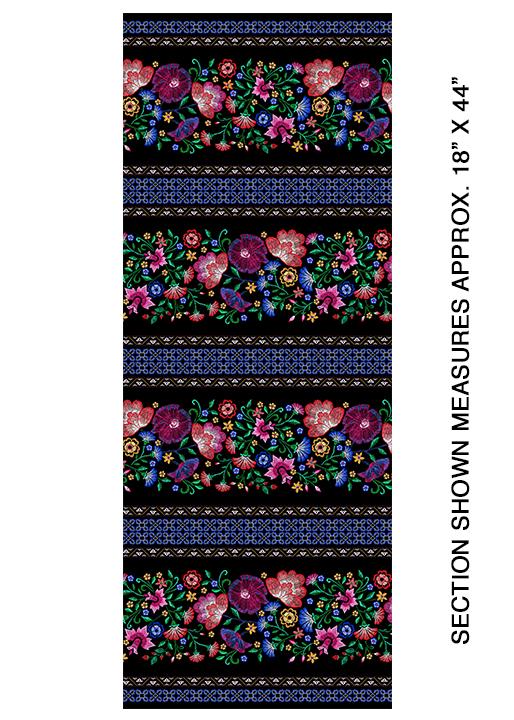 Embroidered Stripe Black