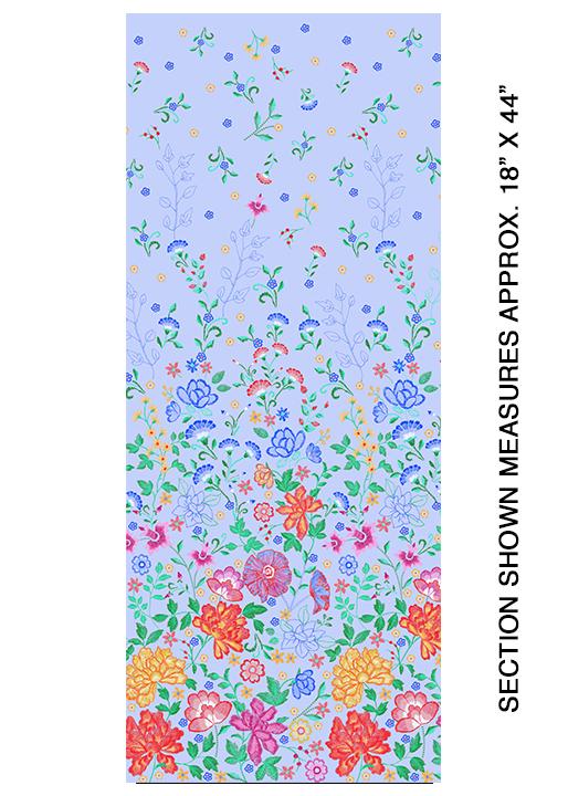 Embroidered Elegance -  Border - Blue - 7913-05
