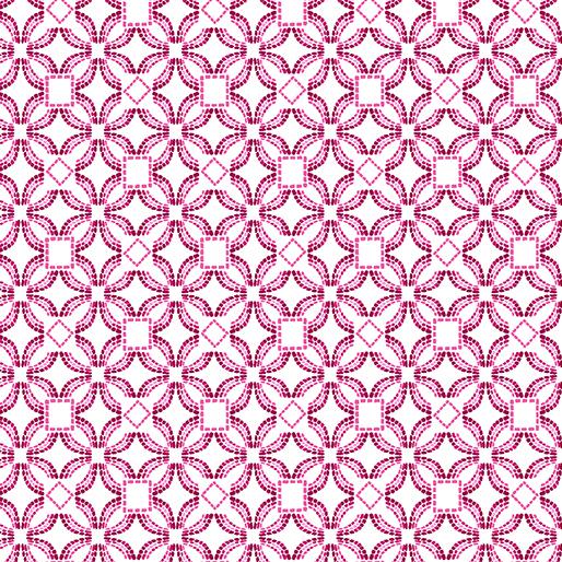 Embroidered Elegance -  Geo-  Pink/White - 7914-02