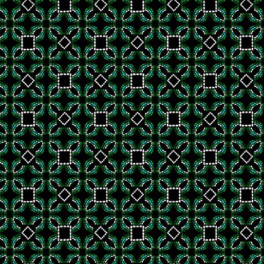 Embroidered Elegance -  Geo - Green/Black - 7914-44