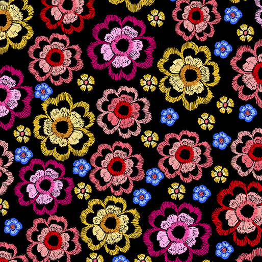 Embroidered Elegance -  Flowers - Red/Pink - 7916-21