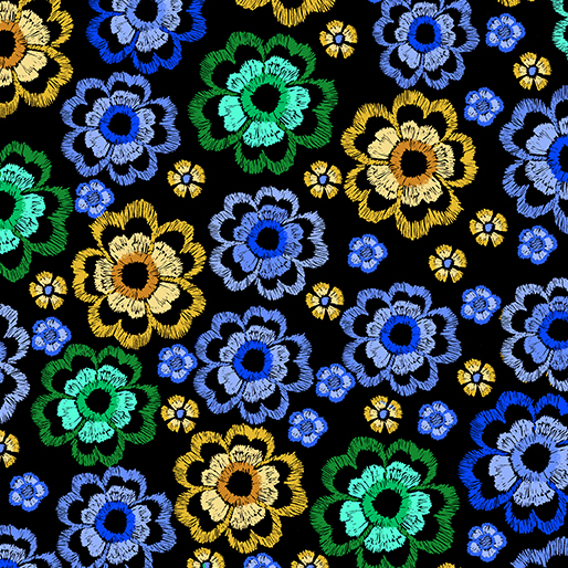 Embroidered Elegance -  Flowers - Blue/Green - 7916-54