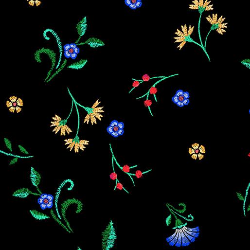 Embroidered Elegance -  Floral Buds - Black - 7917-12